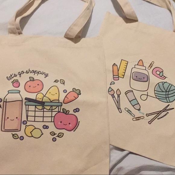 35f2dd0b03846 new: set of 2 cute kids canvas tote bags
